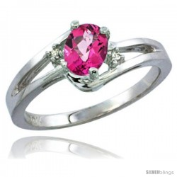 14k White Gold Ladies Natural Pink Topaz Ring oval 6x4 Stone Diamond Accent -Style Cw406165