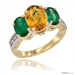 14K Yellow Gold Ladies 3-Stone Oval Natural Whisky Quartz Ring with Emerald Sides Diamond Accent