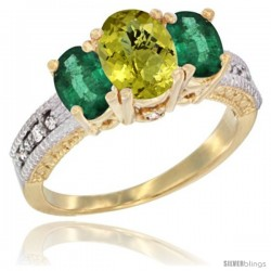 14k Yellow Gold Ladies Oval Natural Lemon Quartz 3-Stone Ring with Emerald Sides Diamond Accent