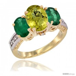 14K Yellow Gold Ladies 3-Stone Oval Natural Lemon Quartz Ring with Emerald Sides Diamond Accent