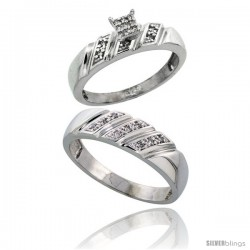 Sterling Silver 2-Piece Diamond wedding Engagement Ring Set for Him & Her Rhodium finish, 5mm & 6mm wide -Style Ag016em