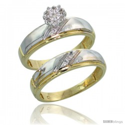 10k Yellow Gold Diamond Engagement Rings Set 2-Piece 0.06 cttw Brilliant Cut, 7/32 in wide
