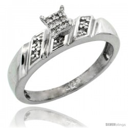 Sterling Silver Diamond Engagement Ring Rhodium finish, 3/16 in wide -Style Ag016er