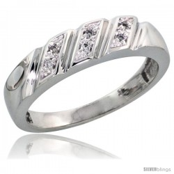 Sterling Silver Ladies' Diamond Wedding Band Rhodium finish, 3/16 in wide -Style Ag016lb