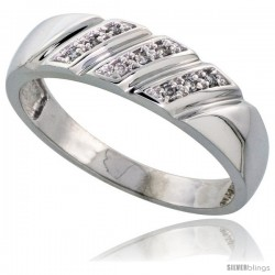 Sterling Silver Men's Diamond Wedding Band Rhodium finish, 1/4 in wide -Style Ag016mb