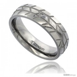 Titanium 6mm Domed Wedding Band Ring Herringbone Pattern Polished finish Comfort-fit