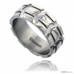 Titanium 8mm Dome Wedding Band Ring Carved Truck Tire Pattern Polished Finish Comfort-fit