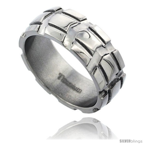 https://www.silverblings.com/55372-thickbox_default/titanium-8mm-dome-wedding-band-ring-carved-truck-tire-pattern-polished-finish-comfort-fit.jpg