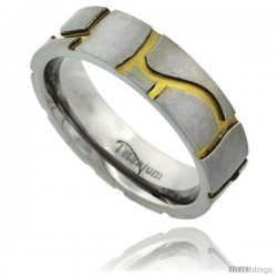 Titanium 6mm Flat Wedding Band Ring Stone Masonry Pattern Gold color Background Matte Finish Comfort-fit