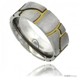 Titanium 8mm Flat Wedding Band Ring Stone Masonry Pattern Gold color Background Matte Finish Comfort-fit