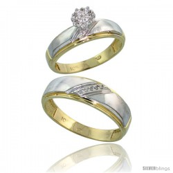 10k Yellow Gold Diamond Engagement Rings 2-Piece Set for Men and Women 0.07 cttw Brilliant Cut, 5.5mm & 7mm wide