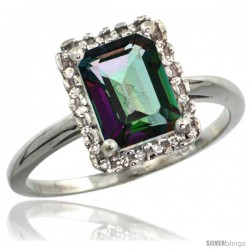 10k White Gold Diamond Mystic Topaz Ring 1.6 ct Emerald Shape 8x6 mm, 1/2 in wide
