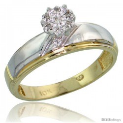10k Yellow Gold Diamond Engagement Ring 0.04 cttw Brilliant Cut, 7/32 in wide