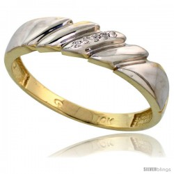 10k Yellow Gold Mens Diamond Wedding Band Ring 0.03 cttw Brilliant Cut, 3/16 in wide -Style Ljy011mb