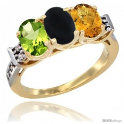 10K Yellow Gold Natural Peridot, Black Onyx & Whisky Quartz Ring 3-Stone Oval 7x5 mm Diamond Accent