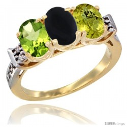 10K Yellow Gold Natural Peridot, Black Onyx & Lemon Quartz Ring 3-Stone Oval 7x5 mm Diamond Accent