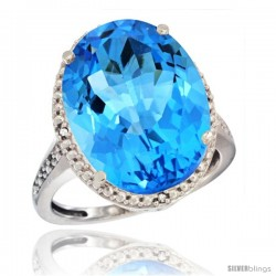 10k White Gold Diamond Swiss Blue Topaz Ring 13.56 Carat Oval Shape 18x13 mm, 3/4 in (20mm) wide