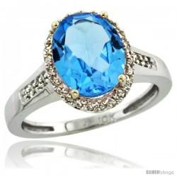 10k White Gold Diamond Swiss Blue Topaz Ring 2.4 ct Oval Stone 10x8 mm, 1/2 in wide