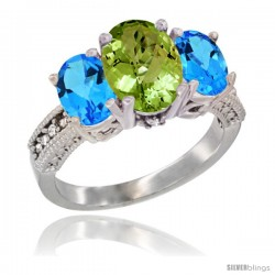 10K White Gold Ladies Natural Peridot Oval 3 Stone Ring with Swiss Blue Topaz Sides Diamond Accent