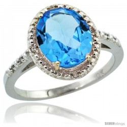 10k White Gold Diamond Swiss Blue Topaz Ring 2.4 ct Oval Stone 10x8 mm, 1/2 in wide -Style Cw904111