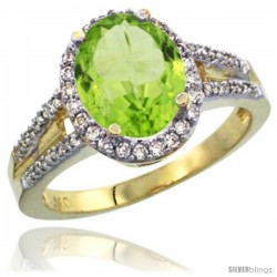 10k Yellow Gold Ladies Natural Peridot Ring oval 10x8 Stone