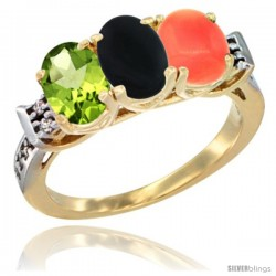 10K Yellow Gold Natural Peridot, Black Onyx & Coral Ring 3-Stone Oval 7x5 mm Diamond Accent