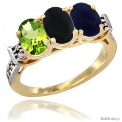 10K Yellow Gold Natural Peridot, Black Onyx & Lapis Ring 3-Stone Oval 7x5 mm Diamond Accent