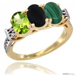 10K Yellow Gold Natural Peridot, Black Onyx & Malachite Ring 3-Stone Oval 7x5 mm Diamond Accent