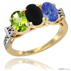 10K Yellow Gold Natural Peridot, Black Onyx & Tanzanite Ring 3-Stone Oval 7x5 mm Diamond Accent