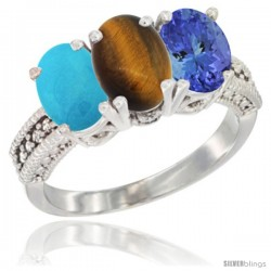 14K White Gold Natural Turquoise, Tiger Eye & Tanzanite Ring 3-Stone 7x5 mm Oval Diamond Accent