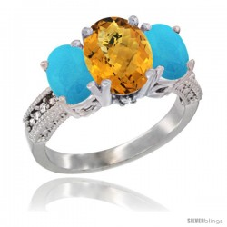 14K White Gold Ladies 3-Stone Oval Natural Whisky Quartz Ring with Turquoise Sides Diamond Accent
