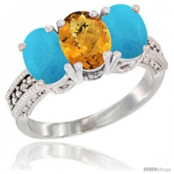 14K White Gold Natural Whisky Quartz & Turquoise Sides Ring 3-Stone 7x5 mm Oval Diamond Accent