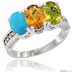 14K White Gold Natural Turquoise, Whisky Quartz & Lemon Quartz Ring 3-Stone 7x5 mm Oval Diamond Accent