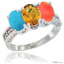 14K White Gold Natural Turquoise, Whisky Quartz & Coral Ring 3-Stone 7x5 mm Oval Diamond Accent
