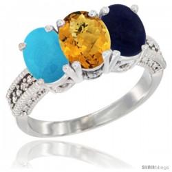 14K White Gold Natural Turquoise, Whisky Quartz & Lapis Ring 3-Stone 7x5 mm Oval Diamond Accent