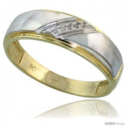 10k Yellow Gold Mens Diamond Wedding Band Ring 0.03 cttw Brilliant Cut, 1/4 in wide