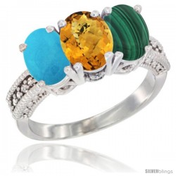 14K White Gold Natural Turquoise, Whisky Quartz & Malachite Ring 3-Stone 7x5 mm Oval Diamond Accent