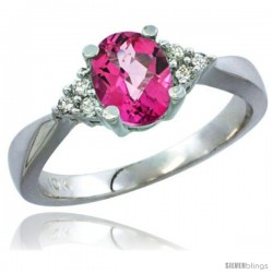 14k White Gold Ladies Natural Pink Topaz Ring oval 7x5 Stone Diamond Accent -Style Cw406168