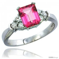14k White Gold Ladies Natural Pink Topaz Ring Emerald-shape 7x5 Stone Diamond Accent