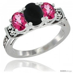14K White Gold Natural Black Onyx & Pink Topaz Ring 3-Stone Oval with Diamond Accent