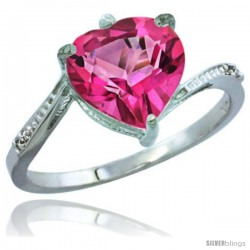 14k White Gold Ladies Natural Pink Topaz Ring Heart-shape 9x9 Stone Diamond Accent