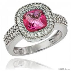 14k White Gold Ladies Natural Pink Topaz Ring Cushion-cut 3.5 ct. 7x7 Stone Diamond Accent