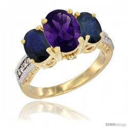 14K Yellow Gold Ladies 3-Stone Oval Natural Amethyst Ring with Blue Sapphire Sides Diamond Accent
