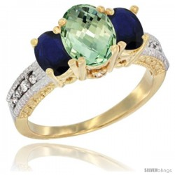 14k Yellow Gold Ladies Oval Natural Green Amethyst 3-Stone Ring with Blue Sapphire Sides Diamond Accent