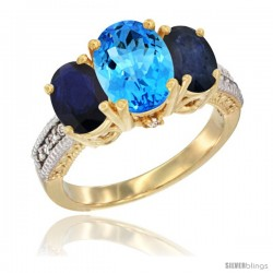 14K Yellow Gold Ladies 3-Stone Oval Natural Swiss Blue Topaz Ring with Blue Sapphire Sides Diamond Accent