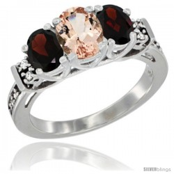 14K White Gold Natural Morganite & Garnet Ring 3-Stone Oval with Diamond Accent