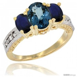 14k Yellow Gold Ladies Oval Natural London Blue Topaz 3-Stone Ring with Blue Sapphire Sides Diamond Accent