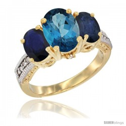 14K Yellow Gold Ladies 3-Stone Oval Natural London Blue Topaz Ring with Blue Sapphire Sides Diamond Accent