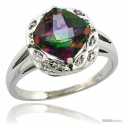 10k White Gold Diamond Halo Mystic Topaz Ring 2.7 ct Checkerboard Cut Cushion Shape 8 mm, 1/2 in wide