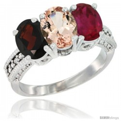 14K White Gold Natural Garnet, Morganite & Ruby Ring 3-Stone 7x5 mm Oval Diamond Accent